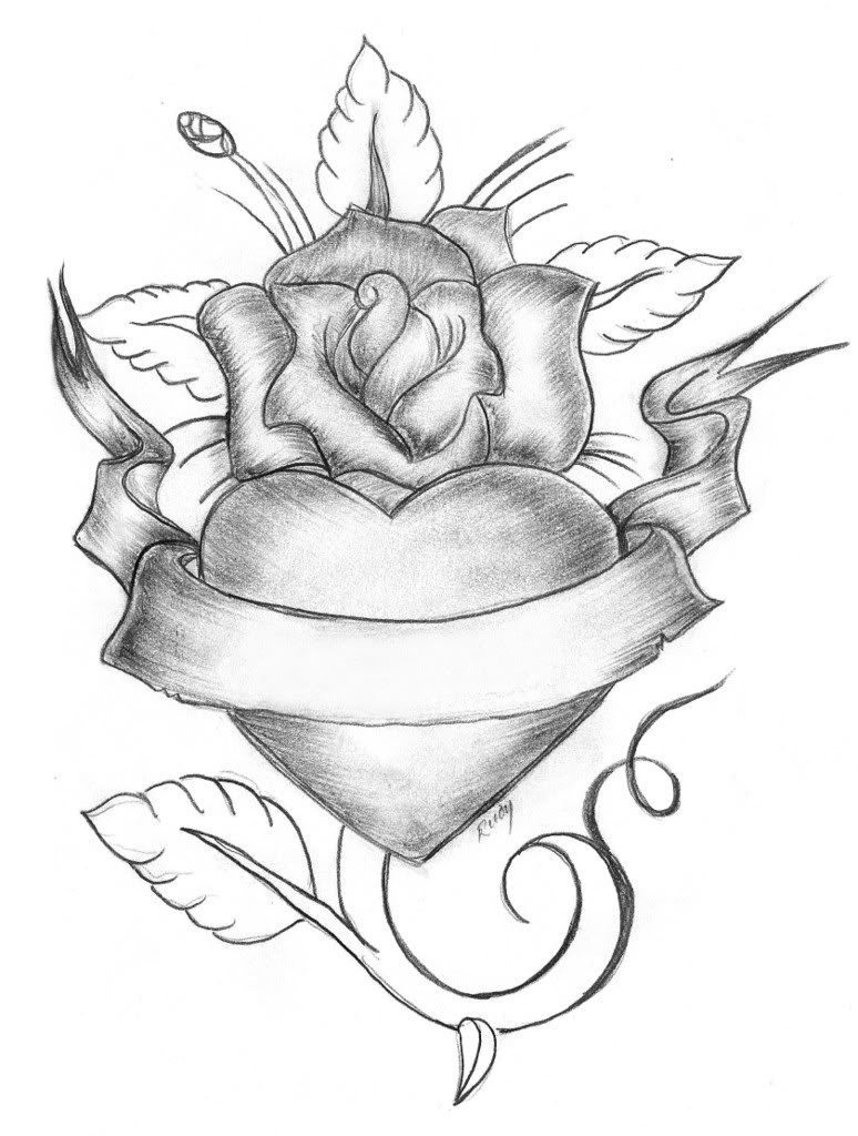 Rose And Heart With Banner Drawing