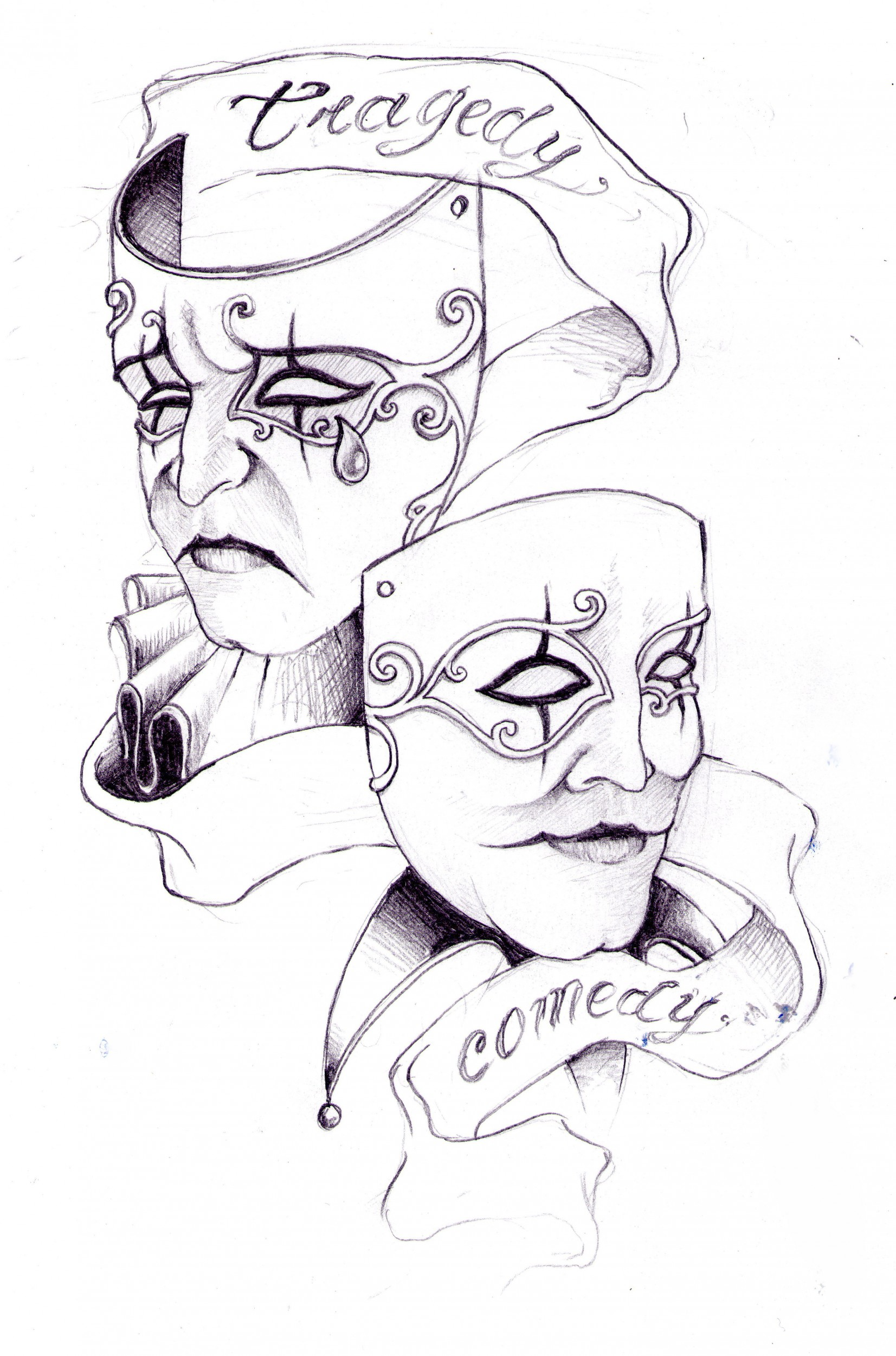Drama Masks Tattoo Designs | Tattoobite.com
