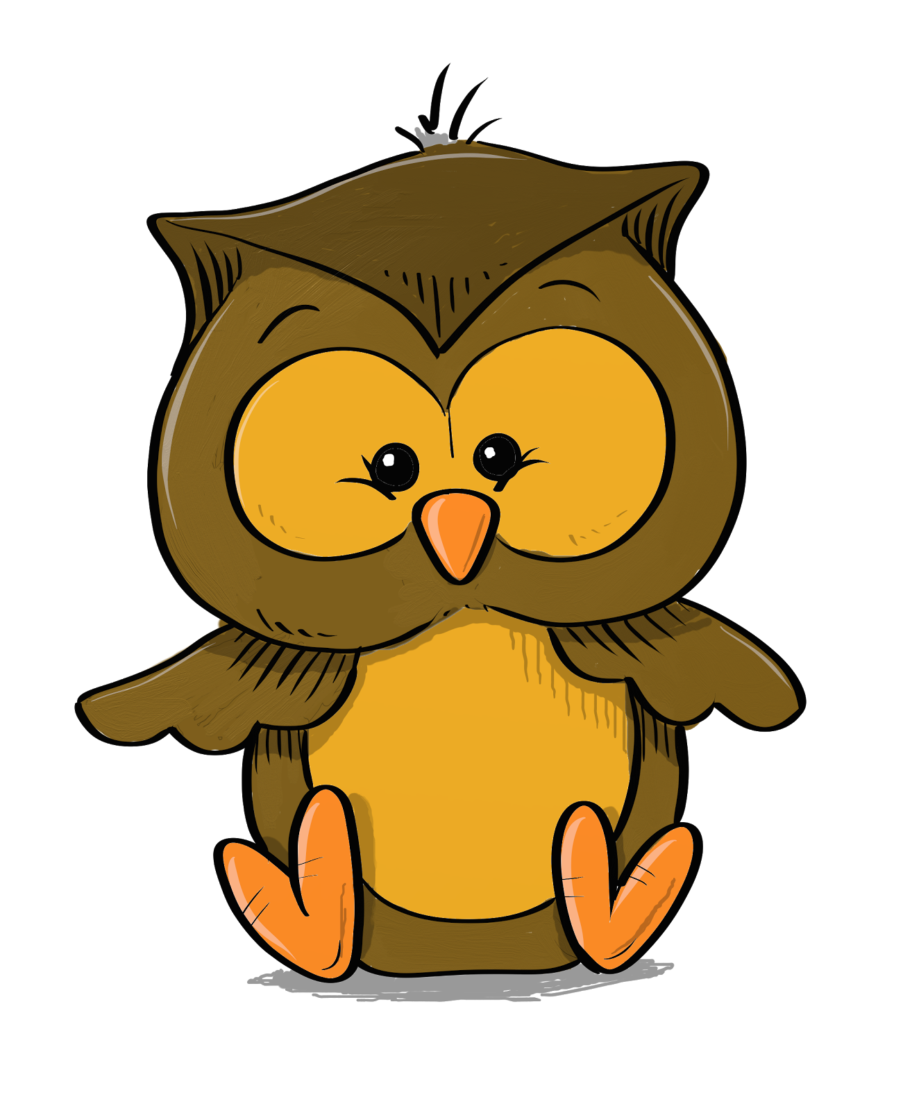 Cartoon baby owl for A cartoon owl
