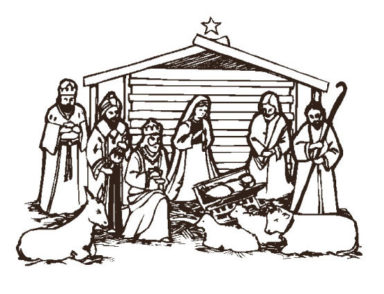 Christmas Nativity Clipart Black And White | quotes.
