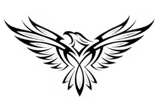 Impressive Black Tribal Eagle Tattoo Design