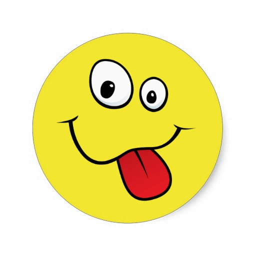 Funny goofy smiley sticking out his tongue, yellow round sticker ...