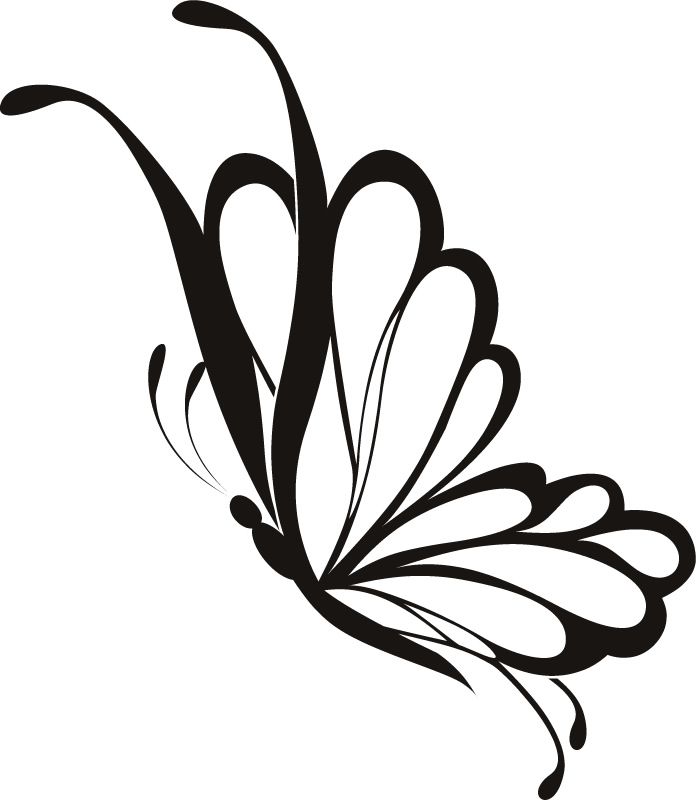 Simple Line Drawing Clip Art : Butterfly line art cliparts