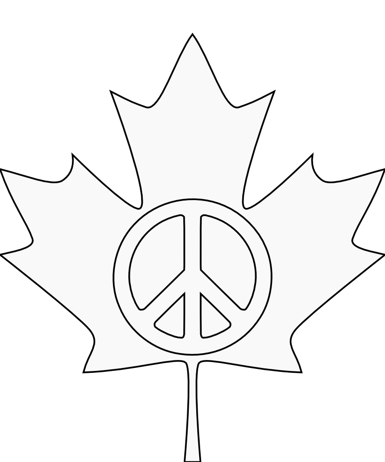 Canada Flag Peace Symbol 3 Black White Line Art Tattoo Tatoo ...