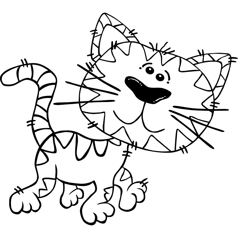 Clipart - Cartoon Cat Walking