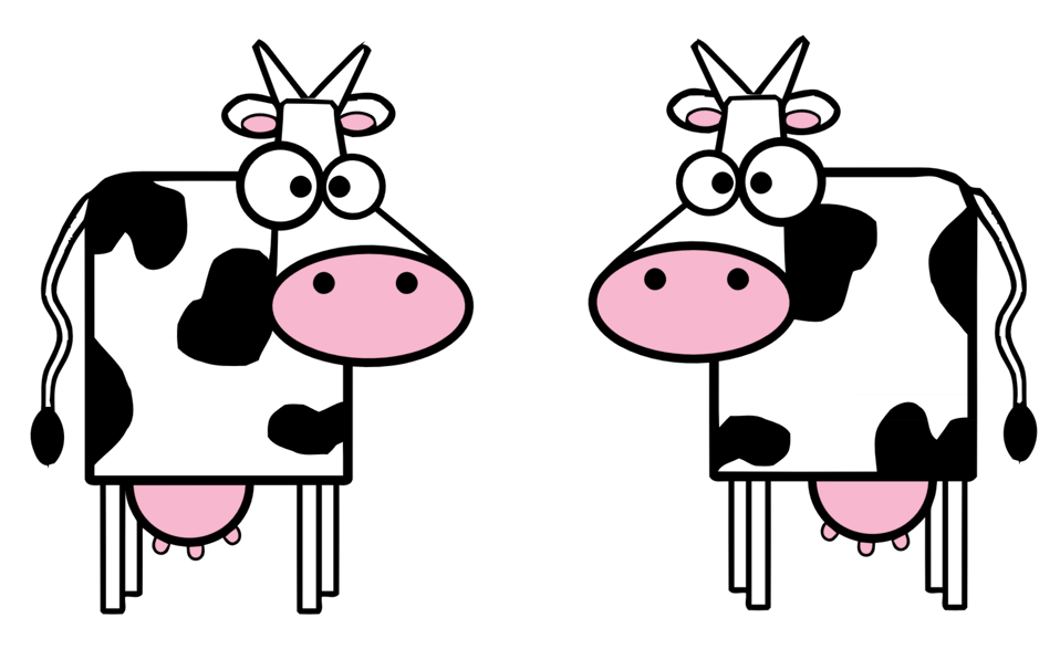 cattle and clever cow cartoon
