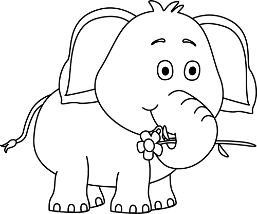 Black and White Elephant with a Flower Clip Art - Black and White ...