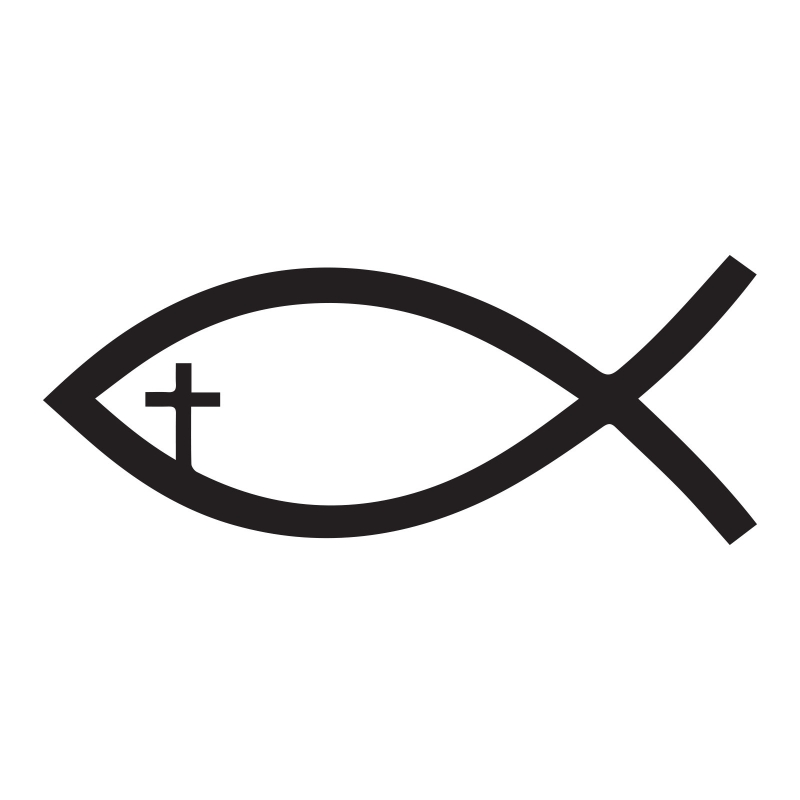 Jesus fish Cross Christian Symbol Wall Decor Vinyl Sticker Decal ...