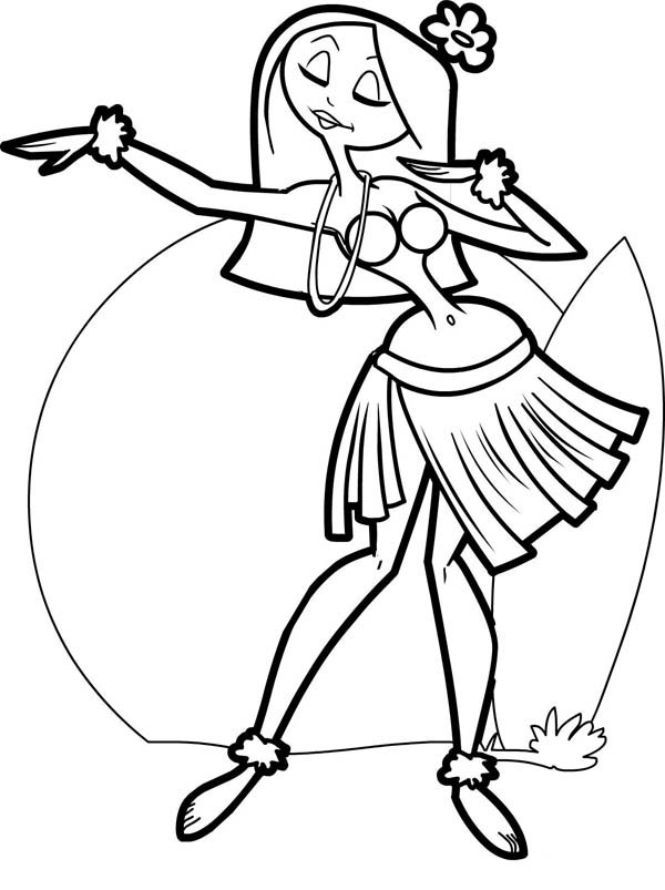 Cartoon Hula Dancer Cliparts Co Hula Coloring Page