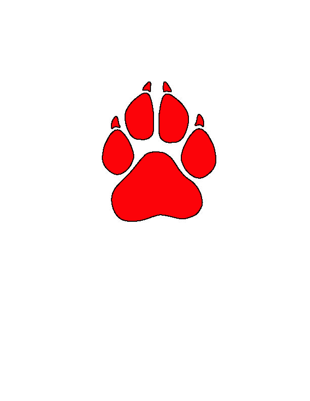 Red Paw Print Clipart Red And Black Paw Print Jpg
