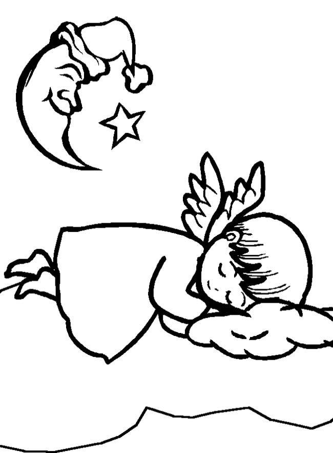 christmas angel sleeping coloring page christmas angel coloring pag
