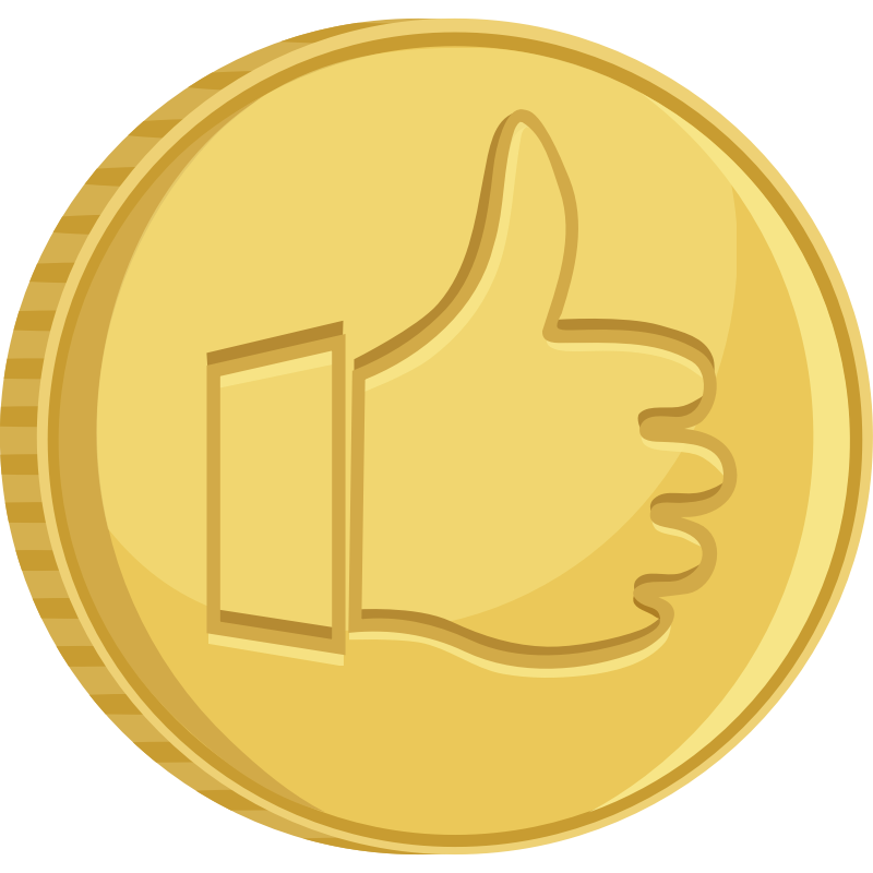 Clipart - Coin thumbs up