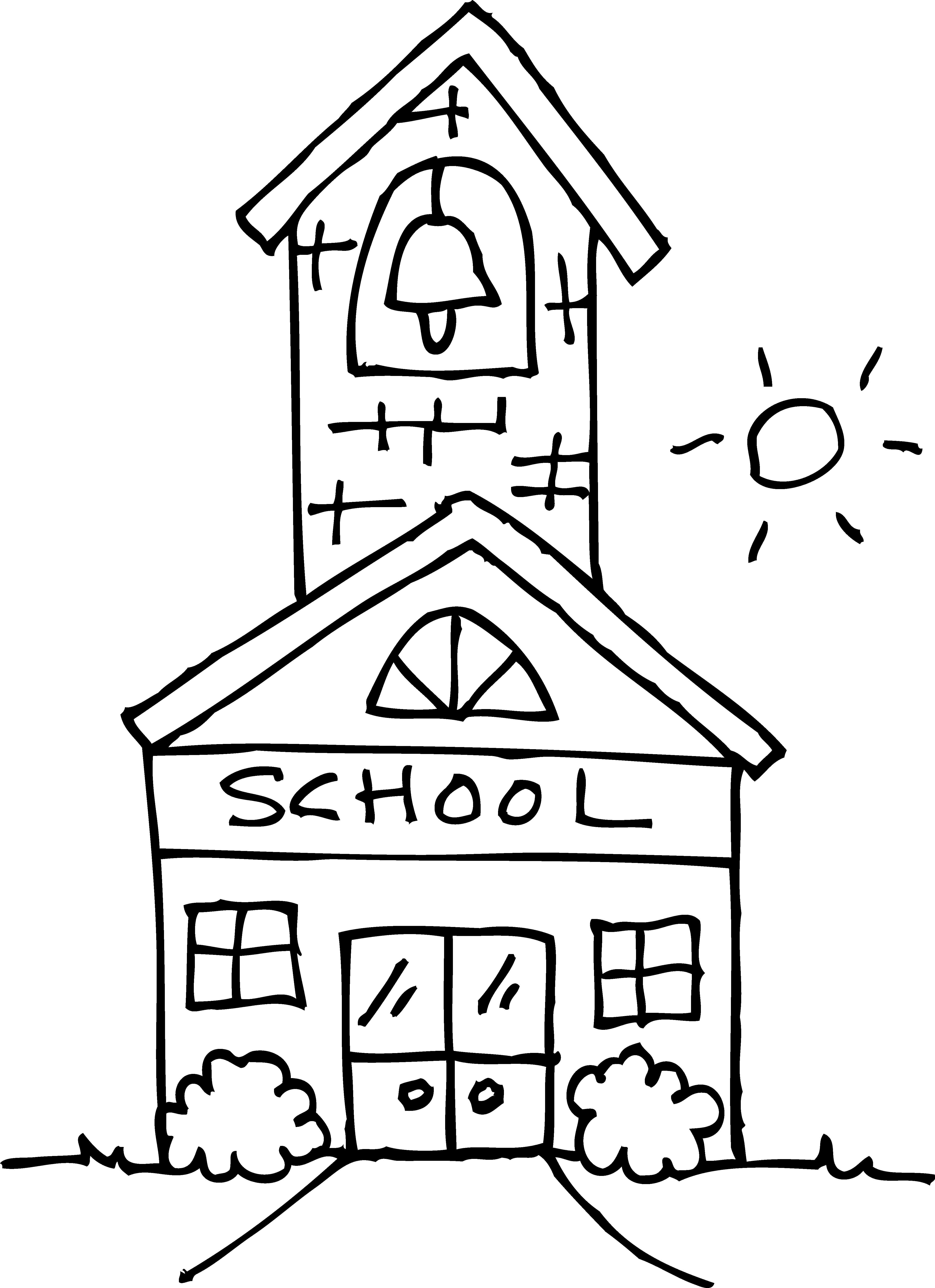 School drawing black and white