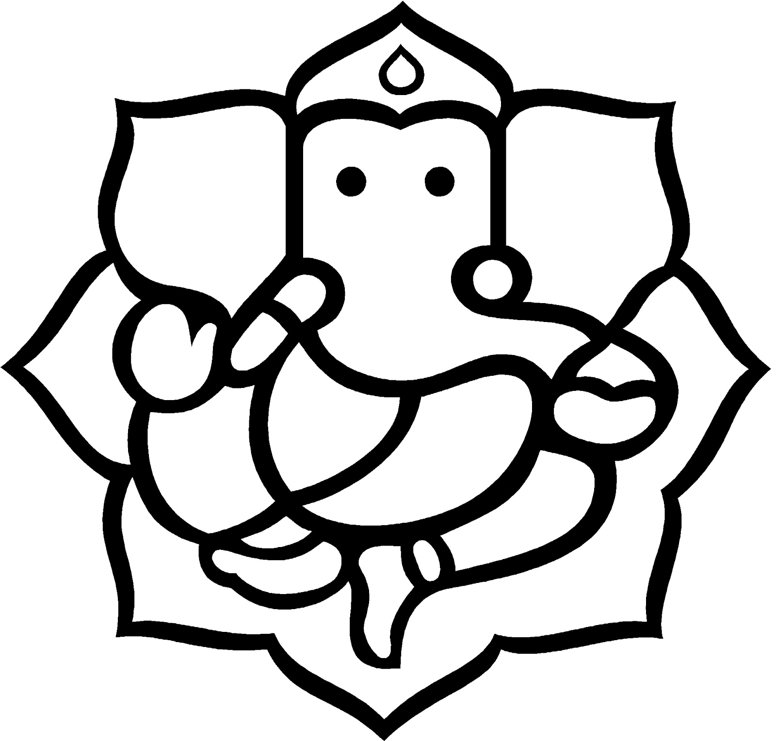 Line Art Ganesh : Ganesh outline cliparts