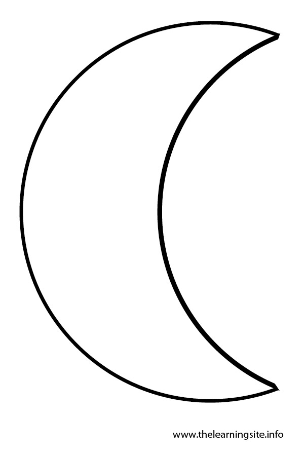 Crescent moon clip art for Half moon coloring pages
