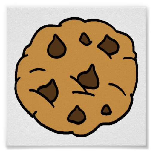 Cartoon Clipart HUGE Chocolate Chip Cookie Dessert Poster | Zazzle