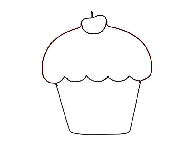 Cupcake Clipart Black And White - Gallery