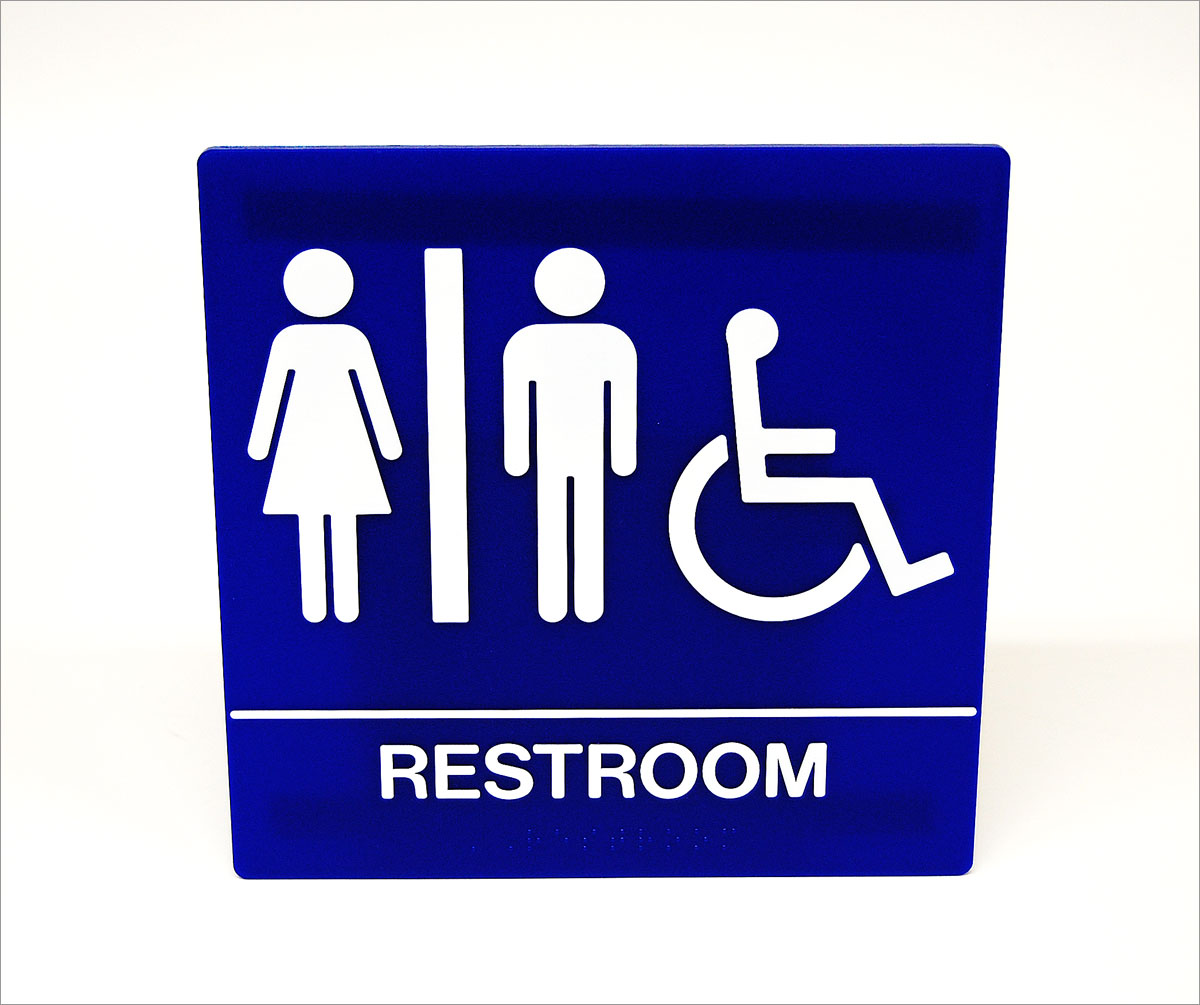 ADA Compliant Mens Restroom Door Signs with Male Symbol