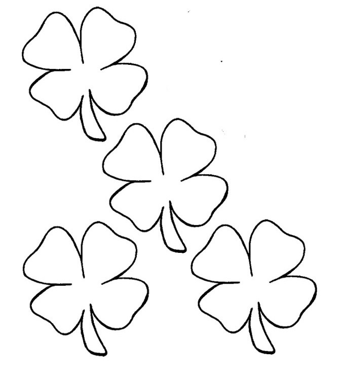 Four Leaf Clover Diverse Coloring Page - Spring Day Coloring Pages ...