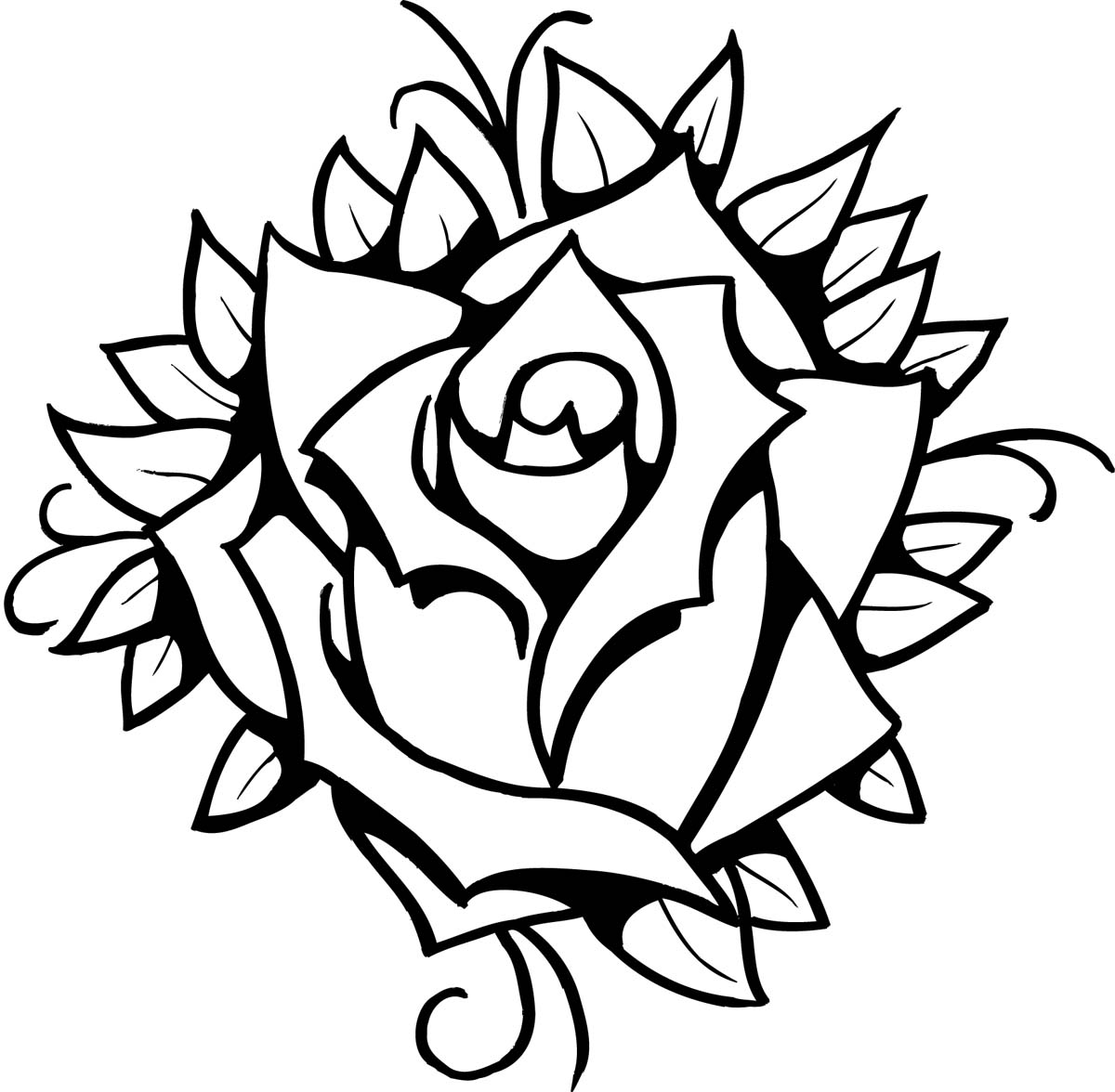 Line Drawing Of A Rose