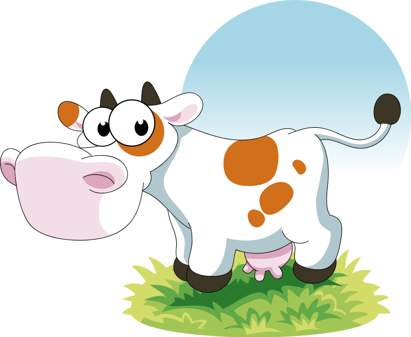 Cute cartoon cows with big eyes