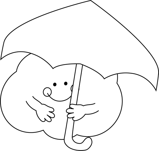 Black and White Cloud Under an Umbrella Clip Art - Black and White ...