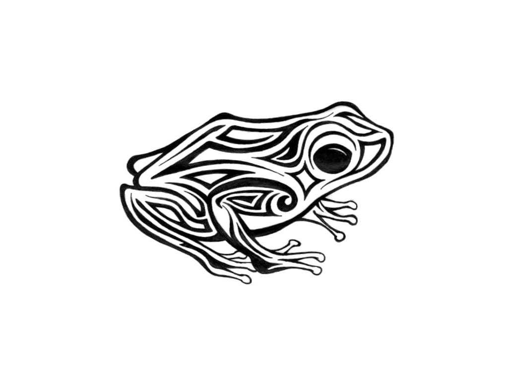Free designs - Tribal frog with big eyes tattoo wallpaper