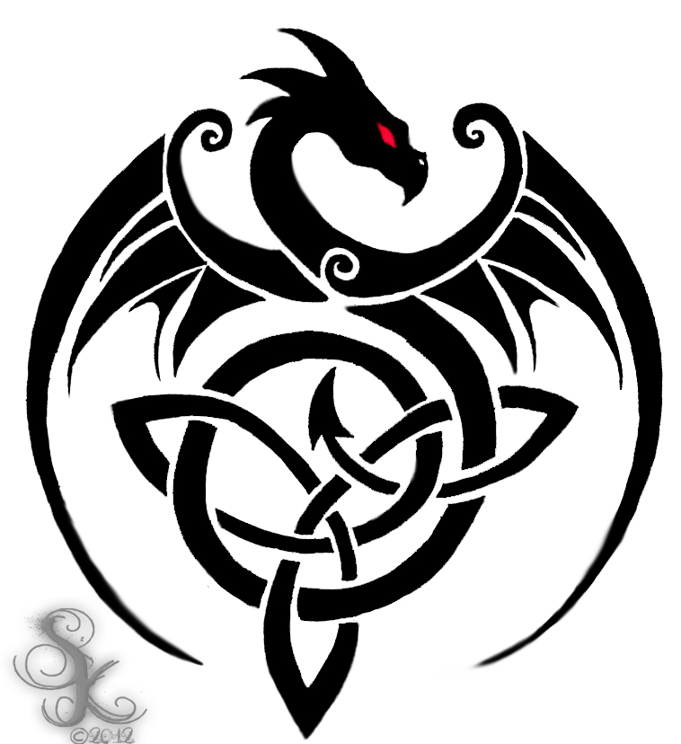 Scottish Tribal Tattoos: Dragon Line Art