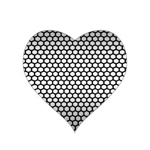 Cool Metallic Black and Silver Design.png Heart Sticker | Zazzle