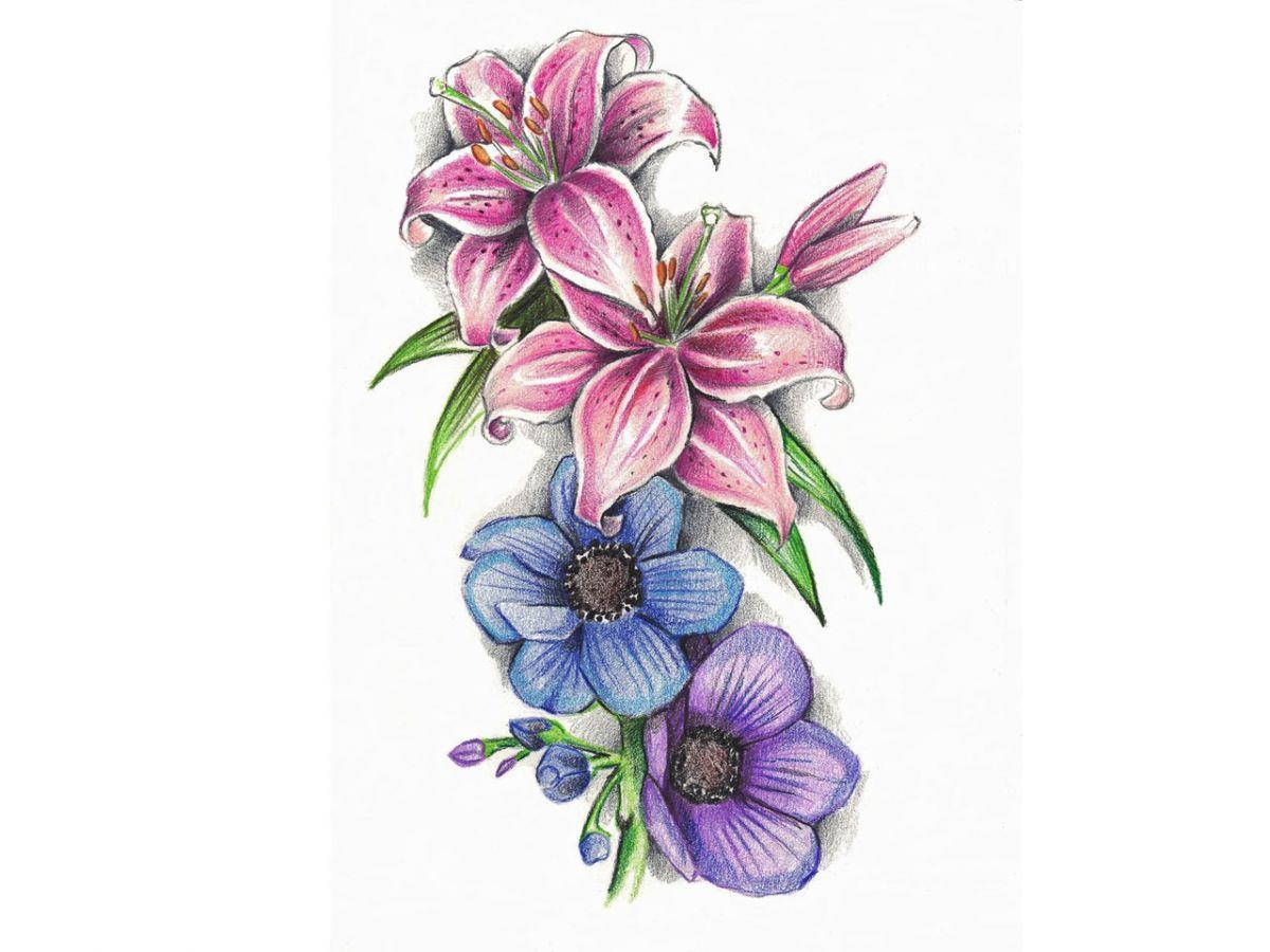 Violet Flowers Tattoos Images For  Violet Flower