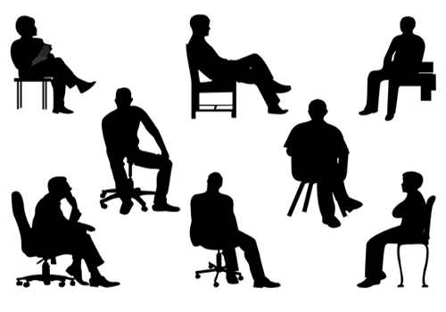 People Sitting Silhouette Clipart