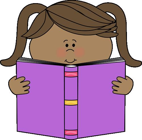Little Girl Reading a Book Clip Art - Little Girl Reading a Book Image