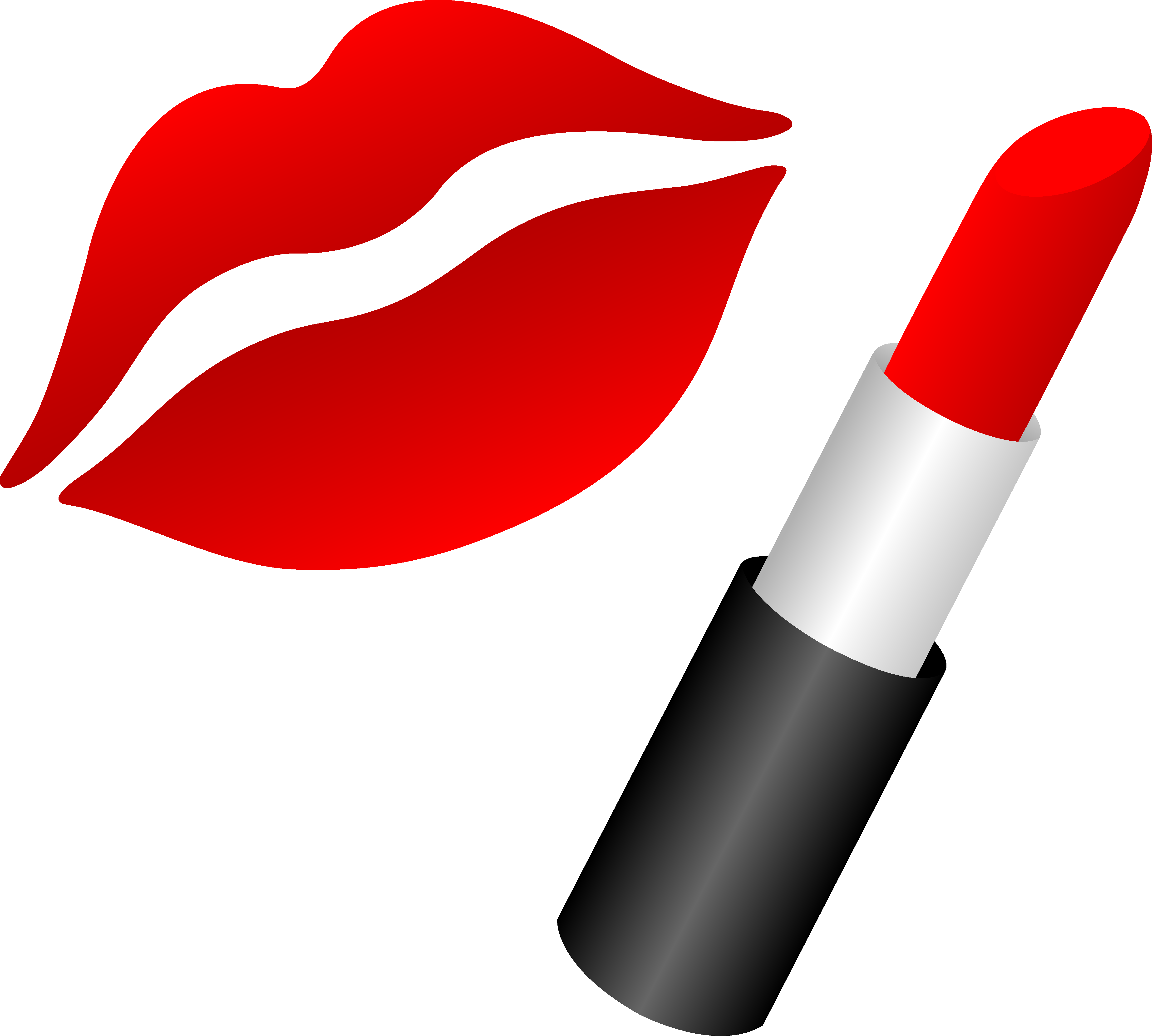 Lips With Red Lipstick - Free Clip Art
