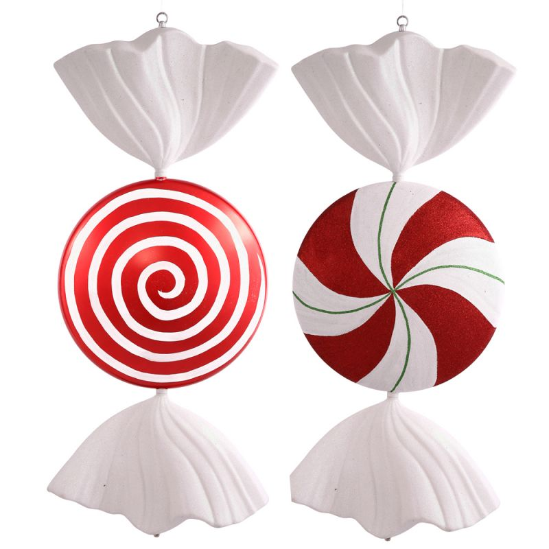 VCO Set of 2 Peppermint Twist Glittery Peppermint Candy Christmas ...