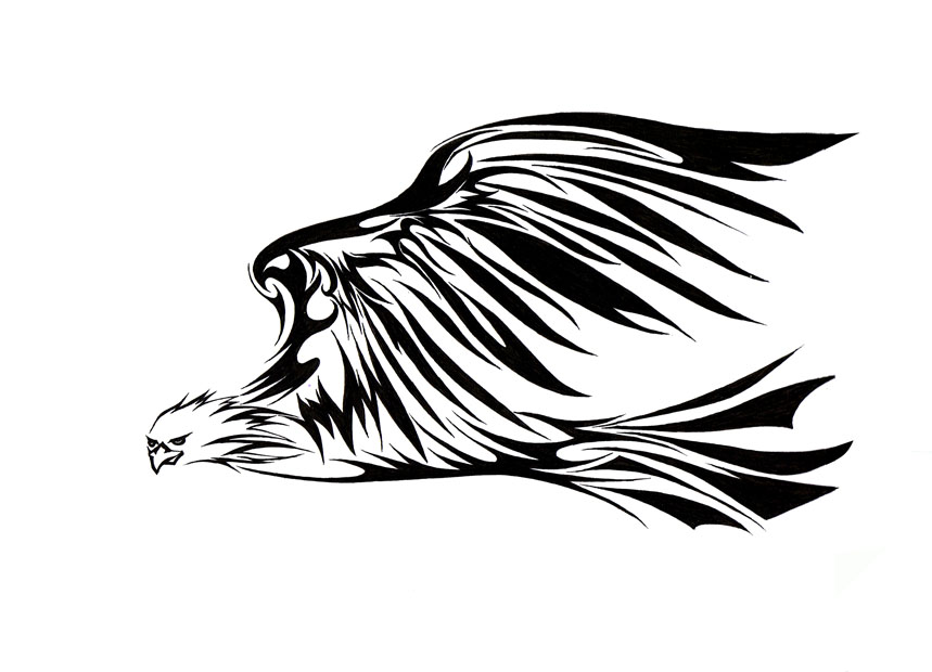 Eagle Tribal Tattoo Design | Tattoobite.com