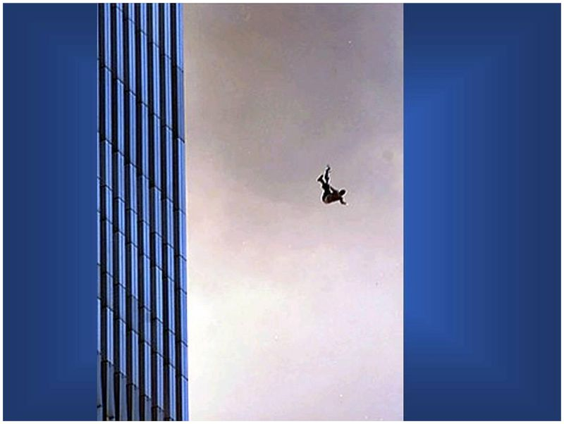 Two people holding hands as they fall from the Twin Towers on 9/11 ...