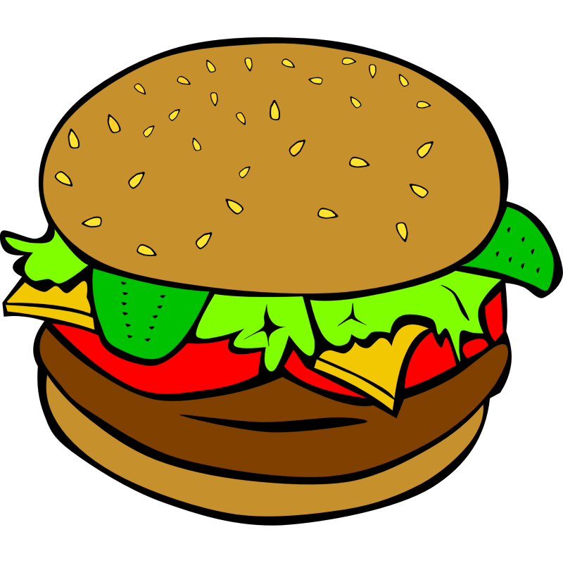 Clipart - Fast Food, Lunch-Dinner, Hamburger