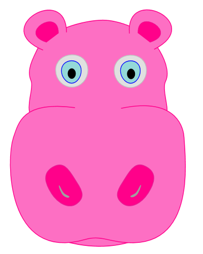 Image Gallery hippo face clip art
