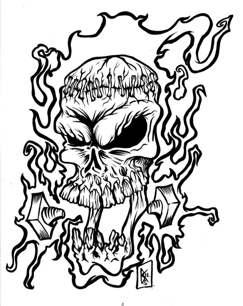 Images For gt Skulls With Flames Drawings Clipartsco