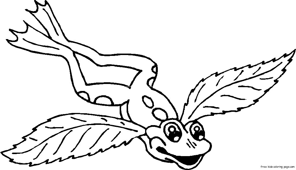 frog with angel wings tattoo coloring pages for kids - Free ...