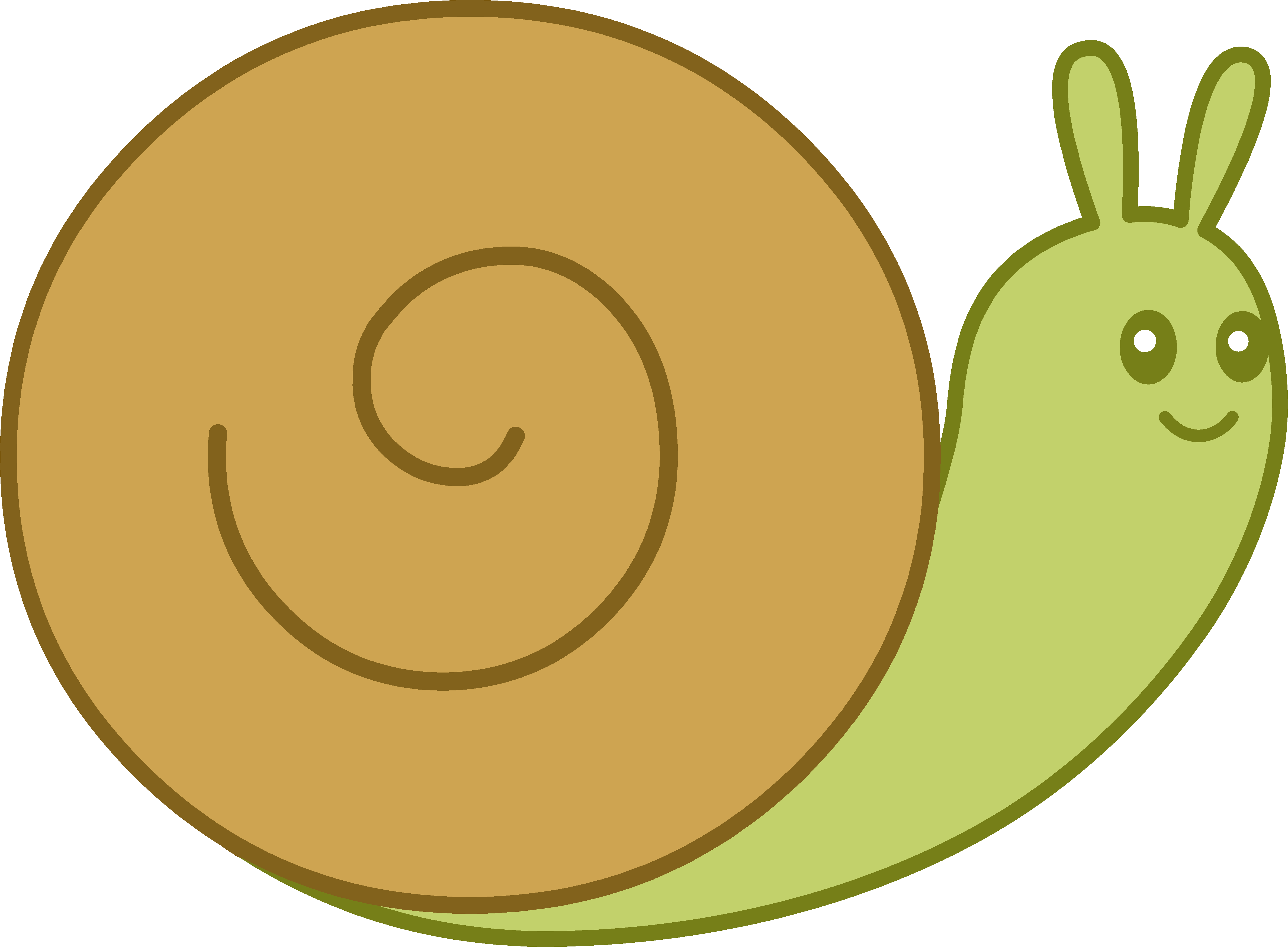 Cute Brown and Green Snail - Free Clip Art
