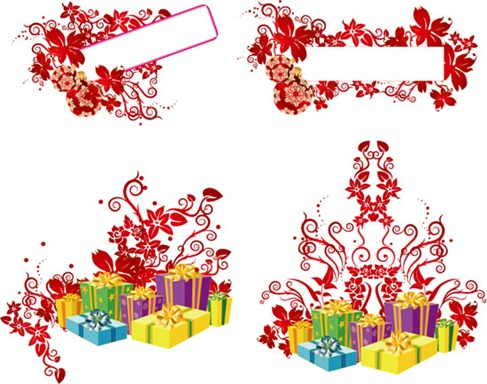 Christmas Gifts Vector Png Gift Boxes Vector Collection