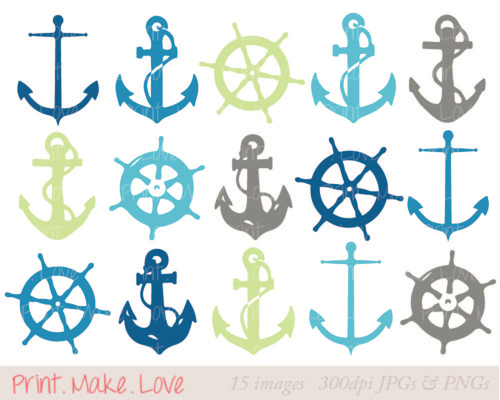 Nautical Clipart Clip Art Anchor Clipart Clip Art by PrintMakeLove