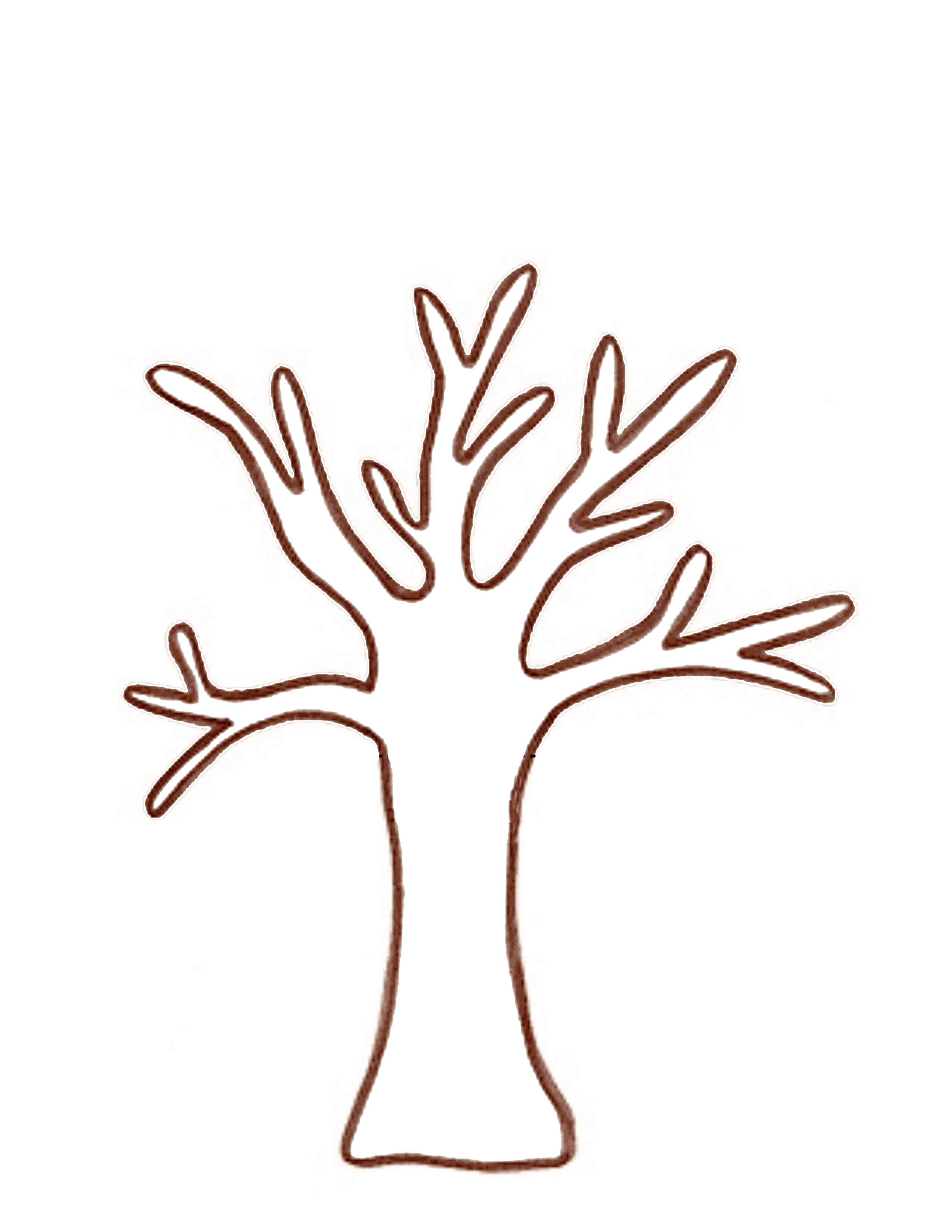 Handprint Template on Whimsical Tree Clip Art Free