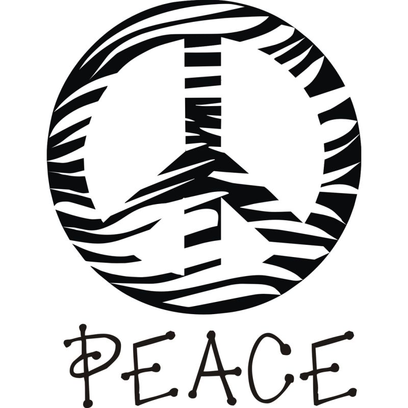 Peace Sign Clipart Black And White Zebra Peace Sign Clipart