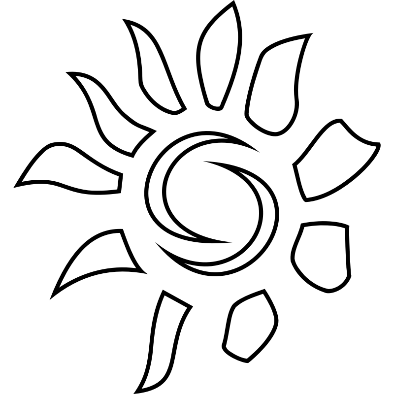 Line Drawing Sun : Sun line art cliparts