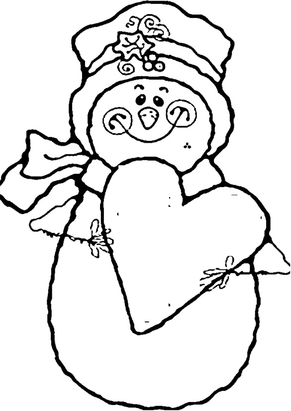 Snowman Smile With Love Coloring Pages - Christmas Coloring Pages ...