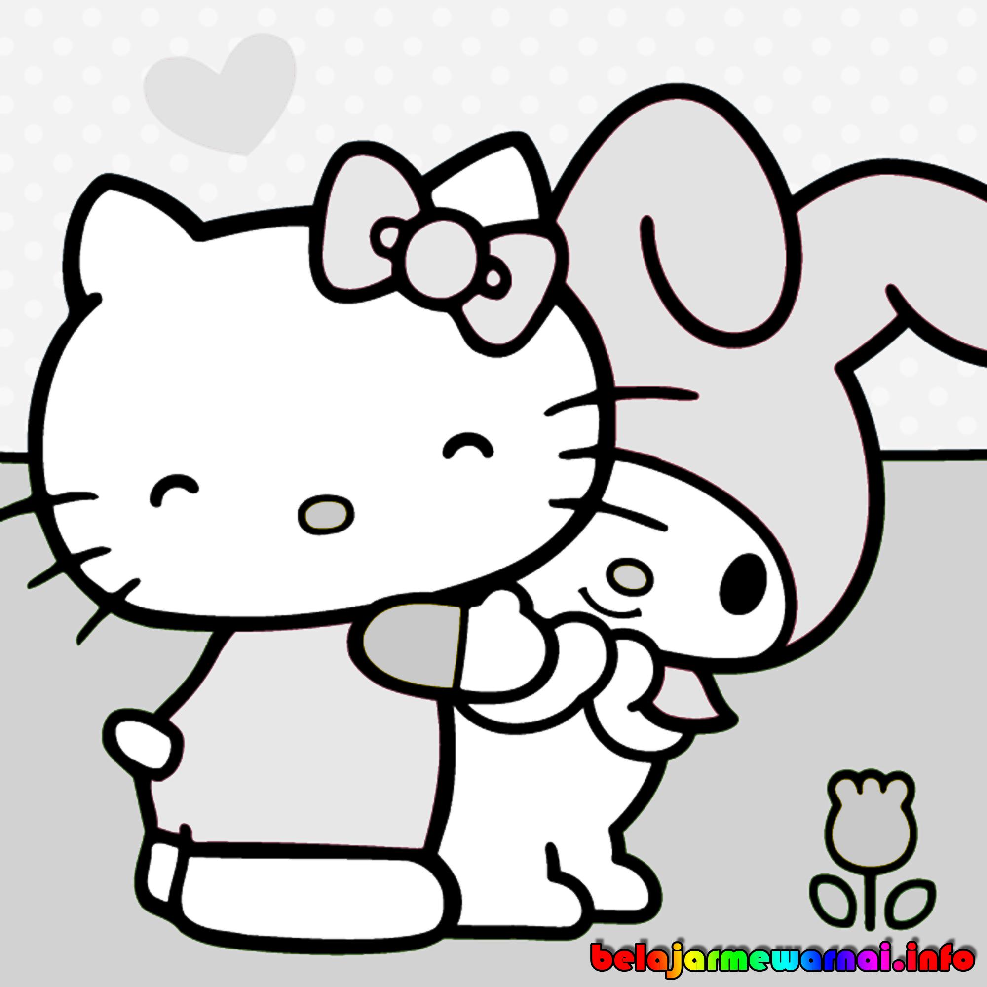 Gambar Kitty Hitam Putih Cliparts Belajar Mewarnai Lucu Terbaru Kartun