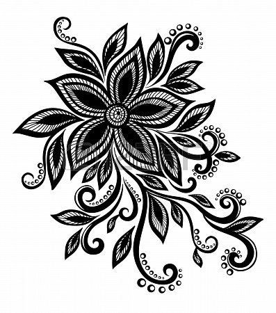 Simple flower designs black and white - Flower black and white design ...