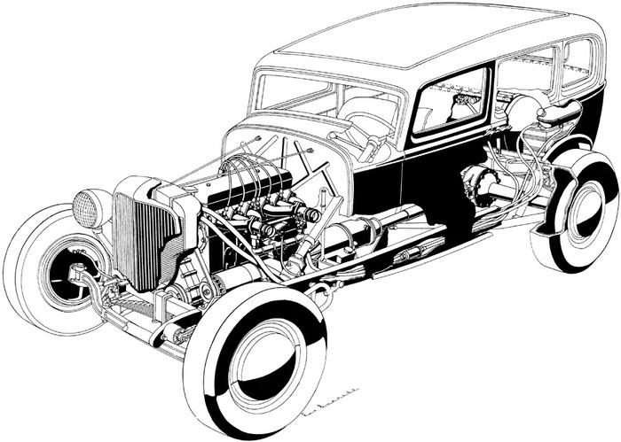 muscle car hot rod drawings
